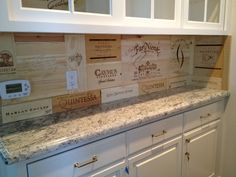 Wine crate backsplash in a new bar area-Shannon Kirby Interiors