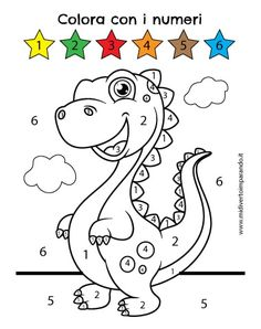 Color Worksheets For Preschool, Math Coloring Worksheets, Kindergarten Coloring Pages, Preschool Writing, Numbers Preschool, Kindergarten Math Worksheets, Dinosaur Activities, Preschool Learning Activities, Preschool Lessons