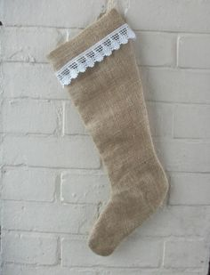 Christmas Stocking in Burlap  and White Vintage by HomeDecorLab, $19.00