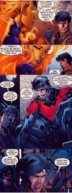 Starfire, Jason Todd, and Dick Grayson- Awww! But later Star and Dick get married!