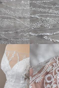 Beaded Wedding Gowns, Wedding Lace, Lace Weddings, Wedding Dresses, Lace Fabric, Boho Fashion, Sequins, Ivory, Yard