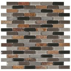 Merola Tile, Tessera Subway Stonehenge in. x 12 in. x 8 mm Glass and Stone Mosaic Wall Tile, GDMTSWH at The Home Depot - Mobile Beadboard Backsplash, Kitchen Backsplash, Backsplash Ideas, Stone Backsplash, Quartz Backsplash, Rustic Backsplash, Hexagon Backsplash, Black Backsplash, Splashback Tiles