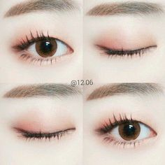 Make-up Tutorial Korean Korea Ideen - Makeup Tutorial African American Korean Natural Makeup, Korean Makeup Look, Korean Makeup Tips, Asian Eye Makeup, Korean Makeup Tutorials, Korean Make Up Natural, Make Up Korean, Peach Eye Makeup, Natural Eyeliner