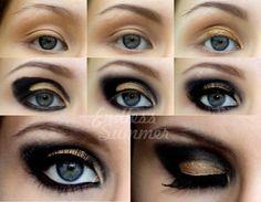 New Year's Eve Party Makeup #eyes #stepbystep #howto #tutorial #partylook #holidaylook #newyear #makeup #eyes #eyemakeup #smokeyeye #gold - bellashoot.com