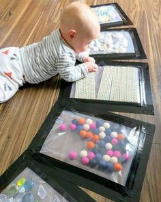 and baby activities These sensory plates are just genius! Right on the floor where baby can touch an. These sensory plates are just genius! Right on the floor where baby can touch and feel. Montessori Baby, Montessori Activities, Preschool Toys, Toddler Fun, Toddler Learning, Infant Activities, Activities For Kids, 8 Month Old Baby Activities, Infant Games