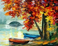 Two Boats PALETTE KNIFE Landscape Modern Wall by AfremovArtStudio