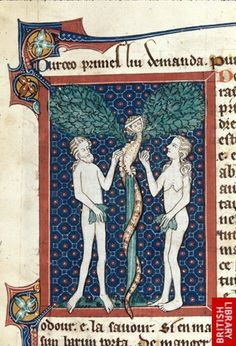 Adam and Eve, with a Lilith version of the Serpent. Ms. Royal 15 D II f.2 (British Library).