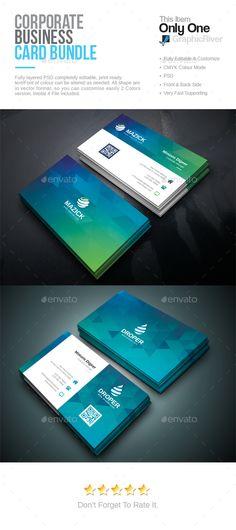 Business Card Bundle - #Corporate Business Cards Download Here: https://graphicriver.net/item/business-card-bundle/18662552?ref=suz_562geid