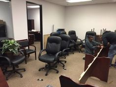 Here we are assembling a conference room table during a commercial move. We had everything set back up in the new space before Monday! #CommercialMovers #CORDoesMore