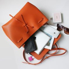 Orange Hard Leather Bag