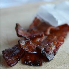 Glazed Bacon Recipe - Maple Bourbon - WonkyWonderful  Im going to have to try her cupcakes too!!!