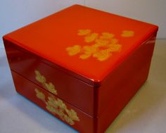 """Japanese Vintage Traditional Lacquer jubako """"Makie of Pine branches """"  2-tier Bento box"""
