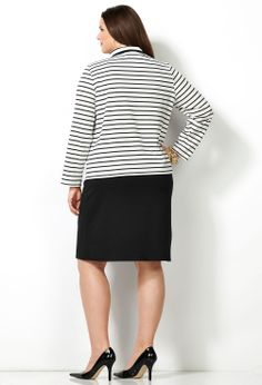 Striped Jacket Dress-Plus Size Dress-Avenue