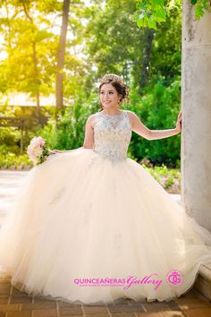 Gorgeous Champagne Princess 2017 Quinceanera Dresses Ball Gown Sheer Neck Major Beaded 2017 Custom Made Prom Gowns Organza Tiered Cheap Quince Dresses, Ball Dresses, 15 Dresses, Ball Gowns, Fashion Dresses, Flower Girl Dresses, Wedding Dresses, Prom Gowns, Pretty Quinceanera Dresses