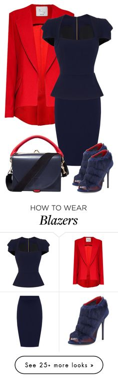 """Red Navy"" by velvy on Polyvore featuring Hebe Studio, WearAll, Roland Mouret, Sacai and Charles Jourdan"