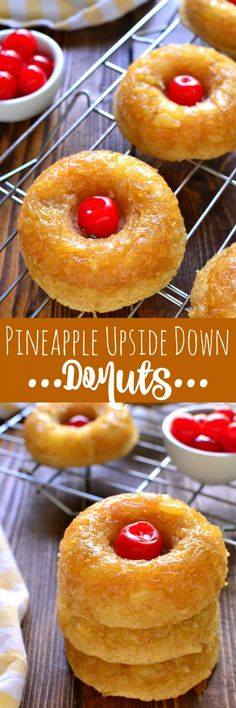Pineapple Upside Down Donuts taste just like the cake, in donut form! These baked donuts are moist & cake-like with a sweet pineapple brown sugar topping. Delicious for breakfast, or try them warm with a scoop of ice cream on top for dessert! Delicious Donuts, Delicious Desserts, Yummy Food, Healthy Donuts, Baked Donut Recipes, Baked Donuts, Doughnuts, Just Desserts, Mini Desserts