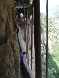 hanging monastery support beams, near Datong, China