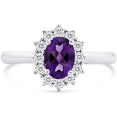 Lustro Oval Amethyst Diamond Halo Ring (£375) ❤ liked on Polyvore featuring jewelry, rings, accessories jewellery rings, cluster ring, heart shaped rings, amethyst stone ring, heart ring and oval rings
