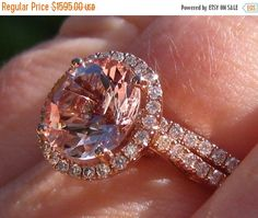 Valentines Day Sale... Peachy Pink Morganite in Diamond Halo Rose Gold Engagement Ring and Wedding Band Wedding Set (1435.50 USD) by JuliaBJewelry