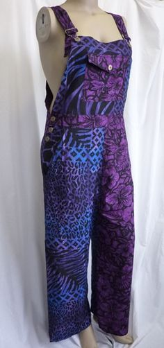 Purple blue hippy patchwork dungarees 18 20 22 24
