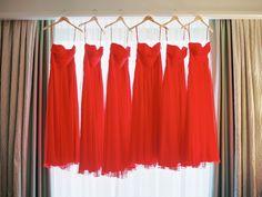 Bridesmaid dresses in Flame. #LoveLaneLooks