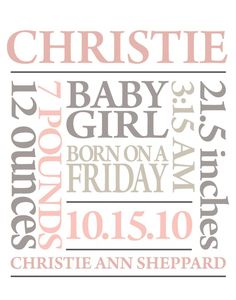 personalized baby girl gift birth announcement subway art custom colors print birth announcement poster nursery wall print