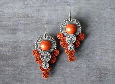 Grey gray red soutache earrings hand embroidered earrings beads embroidery earrings soutache jewelry