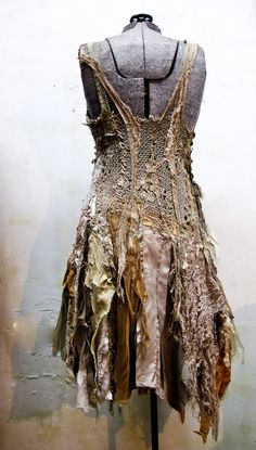 Beautiful earthy textured scrappy dress UM LOVE IT!! something like this would be cool with  moth theme