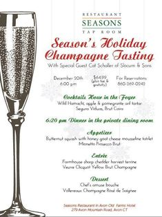 **TONIGHT!!** HOLIDAY CHAMPAGNE TASTING!! December 20th, 6pm with Cat Schaller of Slocum & Sons JOIN US FOR FOOD, CHAMPAGNE AND MORE! www.seasonsrestaurantavon.com Champagne Taste, Tap Room, Special Guest, December, Seasons, Cat, Holiday, Food, Vacations