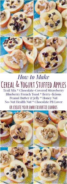 How to Make Cereal and Yogurt Stuffed Apples for a fun and nutritious after-school snack. Try these eight tasty combos or come up with your favorite, with gluten free, nut free, and peanut free options. #ad | cupcakesandkalech...