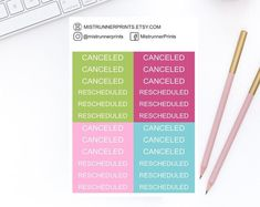 Bright Tropical Cancelled Rescheduled Label Planner Stickers Set for Erin Condren Planner Happy Planner Personal Planner Travelers Notebook Mini Hands, Erin Condren, Weekly Planner, Travelers Notebook, Happy Planner, Planner Stickers, How To Draw Hands, Etsy Seller, Label