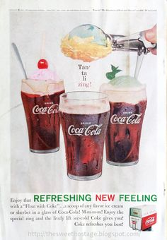 Retro coca cola ice cream float poster.