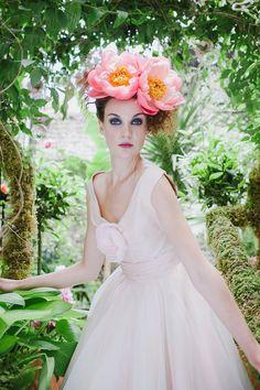 Joanne Fleming Design Emilia blush silk tea length wedding dress. Peony crown by @babsmole. Image by @jacquimacphoto