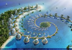 """Nautilus Eco-Resort in Philippines, promising 'zero-emissions, zero-waste and zero-poverty.'Designed by Belgian architect Vincent Callebaut, Nautilus Eco-Resort """"a biophilic learning center, facing the challenges of sustainable development. Unique Architecture, Futuristic Architecture, Sustainable Architecture, Landscape Architecture, Architecture Facts, Sustainable Design, Floating Architecture, Pavilion Architecture, Minimalist Architecture"""