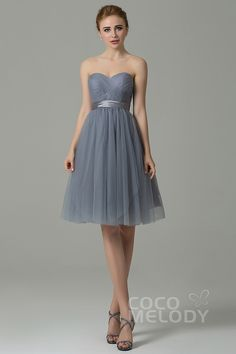 Chic+Sweetheart+Natural+Knee+Length+Tulle+Grey+Sleeveless+Zipper+Convertible+Bridesmaid+Dress+with+Ribbons+COZM15016