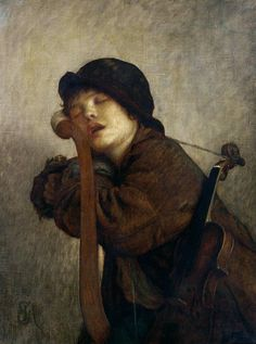 Antoine Auguste Ernest Hebert (1817-1908), The Little Violinist Sleeping, 1883, oil on canvas, private collection