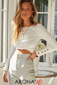 This white crop top long sleeve from Arona XO is a beautiful top for outfit inspirations summer. Wear it as a white crop top long sleeve street styles or white crop top long sleeve casual. Get this white crop top long sleeve outfit for only $29.99 now at aronaxo.com and shop all our womens tops. #longsleevecroptop #whitecroptop #womenstops #cutetops #womensfashion Classy Summer Outfits, Casual Summer Outfits For Women, Winter Outfits Women, Long Sleeve Outfits, Jumpers For Women, Blouse Styles, Long Sleeve Crop Top, Casual Shirts, Clothes For Women