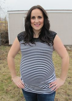 Jordan Top FlyBelly Maternity Shirt www.flybelly.com $26  Black and White Stripe Maternity
