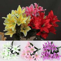Real Touch Lily Artificial Fake Flowers Plants Bouquet Bridal Party Home Decor U