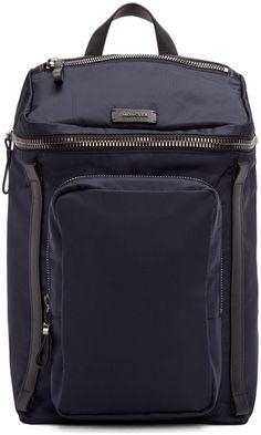 Moncler Navy Nylon Zip Backpack