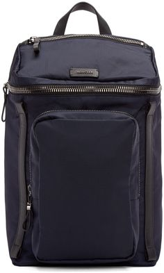 Moncler Navy Nylon Zip Backpack