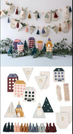 Skøn genbrugs julekalender med små stofposer der vendes og kan bruges år efter år. En rigtig klimavenlig pakkekalender.