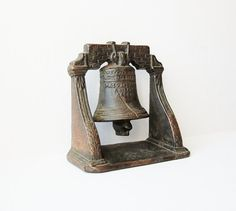 Vintage Liberty Bell Bookend Cast Iron Weathered Copper Patina Heavy Cast Metal Americana History Patriotic
