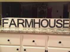 FARMHOUSE sign. Awesome fixer upper sign! Antique white background with black lettering and distressed for a rustic style. by ASmidgeofCharacter on Etsy
