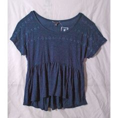 NWT AE Eyelet Babydoll Tee 3Sizes M S XS Blue Womens American Eagle Top New $35 #AmericanEagleOutfitters #Tunic #Casual