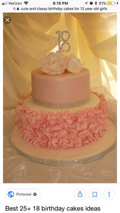 Excellent Picture of Birthday Cake Designs . Birthday Cake Designs Pink Birthday Cake We Made Ruffles And Peonies Ideas For 18th Birthday Cake For Girls, 21st Birthday Cakes, Birthday Cake Toppers, 18th Birthday Cake Designs, Birthday Recipes, Pink Birthday, 13th Birthday, Sweet 16 Cakes, Cute Cakes