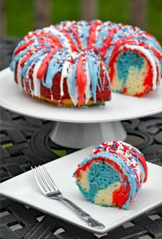 Firecracker red white and blue cake.