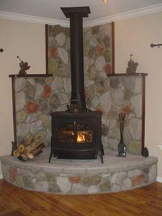 Risultati immagini per free standing fireplace with corner raised hearth Wood Burning Stove Corner, Wood Stove Wall, Wood Stove Surround, Wood Stove Hearth, Stove Fireplace, Wood Burner, Fireplace Wall, Propane Stove, Pellet Stove