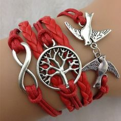 Fashion Trendy Tree Pigeon Layered Bracelet For Women