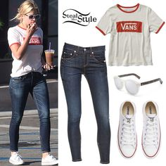 Ashley Benson grabbed a coffee in Los Angeles on Monday wearing the Vans V-Tangle Cropped T-Shirt ($24.50) in White Sand/Flame Scarlet, Rag & Bone/JEAN High Rise Skinny Zipper Crop Jeans ($209.00) in Kensington wash, Converse Chuck Taylor All Star Core Ox Sneakers ($50.00) in Optical White, and glasses similar to the Illesteva Leonard II Round Sunglasses ($290.00) in Frost.